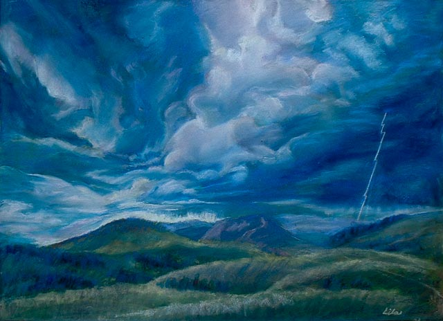 Storm in Victor, pastel, 18 x 24 inches, by Lila McClellan